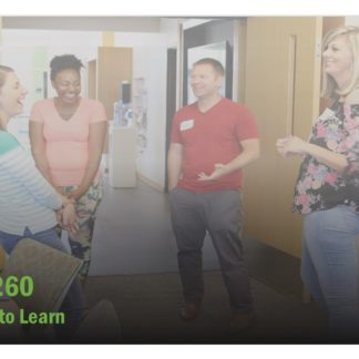 The course catalog image for FET 260 features four people standing in a circle. All have smiles on their faces.