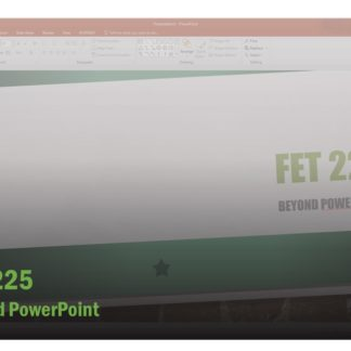The course catalog image for FET 225 features a screenshot of the master slide of a PowerPoint presentation