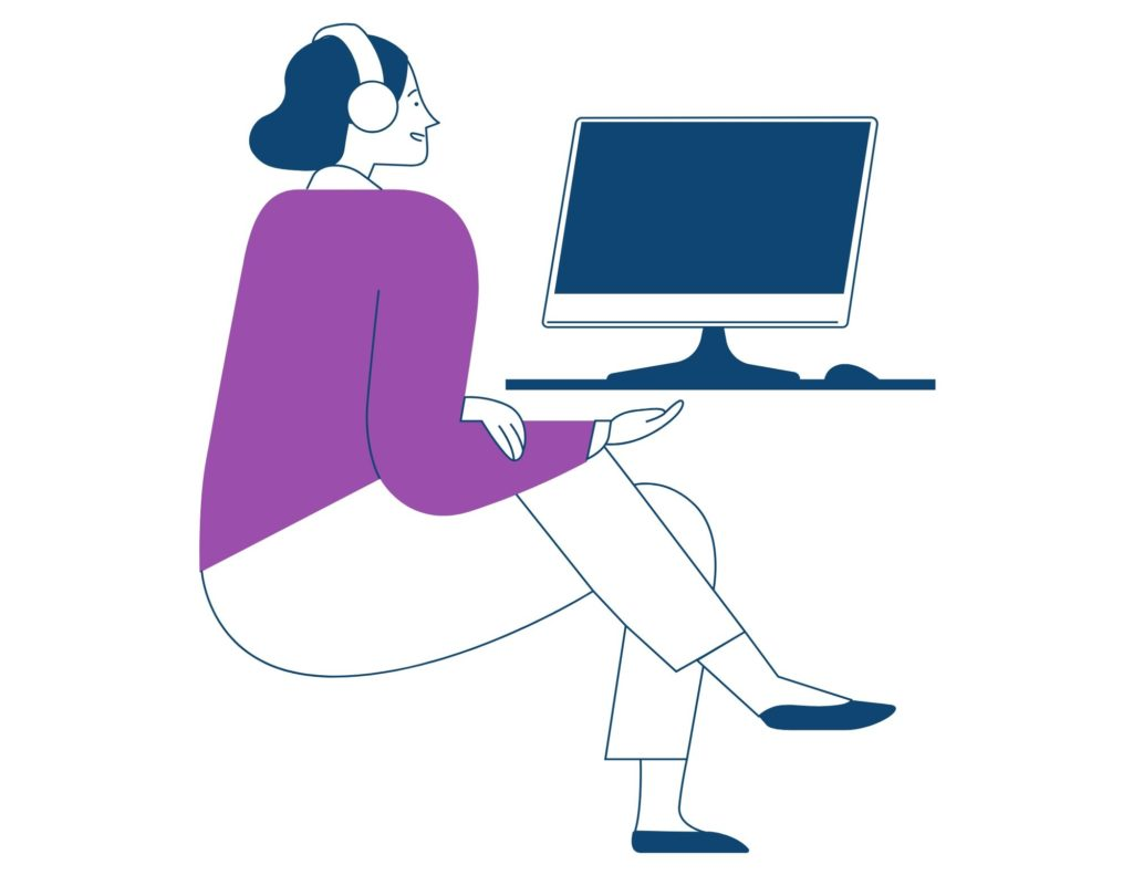 An illustration of a woman sitting at a laptop. On her head are headphones. Her hair is blue, her shirt is purple.