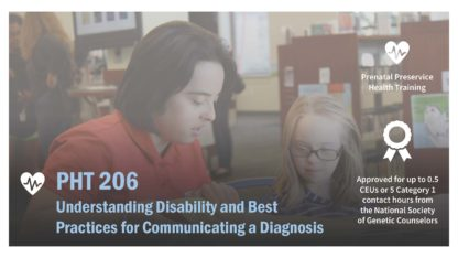 The PHT 206 course image features a teacher with Down syndrome reading at a table to a girl.